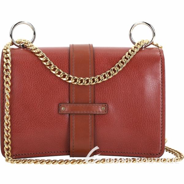 CHLOE Aby Chain 鎖頭系列山羊皮鍊帶側背包(小款/紅棕色) 1940617-D9