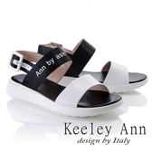 ★2018春夏★Keeley Ann韓式風潮~雙色寬帶英文字樣平底涼鞋(白色)-Ann系列