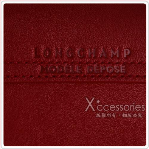 LONGCHAMP Le Pliage Cuir小羊皮系列手提/肩背包(中/紅)
