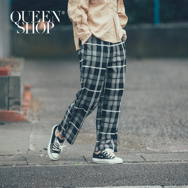 Queen Shop【04090371】配色格紋休閒長褲 兩色售*現+預*