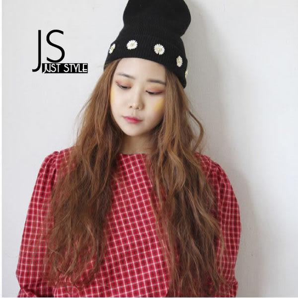 毛線帽【JS精心苑】小清新風格花朵裝飾可愛淑女套頭毛線帽子/配件/飾品/毛帽/保暖帽