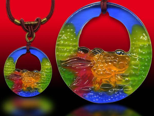 鹿港窯~居家開運水晶琉璃項鍊~金魚◆附精美包裝 ◆免運費送到家