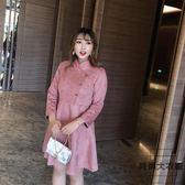 大碼中國風甜美唐裝鹿皮絨修身顯瘦中長款連身裙【時尚大衣櫥】