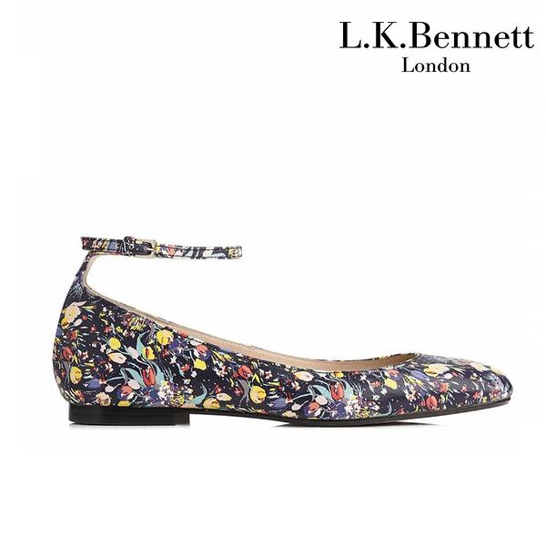 【L.K. BENNETT】凱特王妃摯愛品牌 NARINA真皮鬱金香印花瑪莉珍平底鞋-深藍 (原廠公司貨)