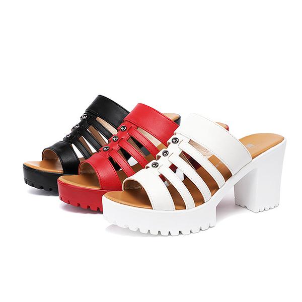 【Sp house】沁涼性感線條縷空魚口粗跟拖鞋(3色可選)