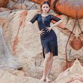 拉丁舞裙新款成人女性感拼接夏季練功服