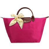 LONGCHAMP經典短提把中型尼龍摺疊水餃包(桃紅紫色-含帕巾)480101-653