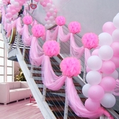 禮品婚禮小物結婚慶用品婚禮雪紗花球創意裝飾布置紗幔樓梯紗道具路引-凡屋