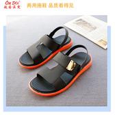 越南橡膠仿皮涼拖鞋男  休閒後帶不臭腳兩用乳膠涼拖鞋防滑矽膠鞋夏  快速出貨