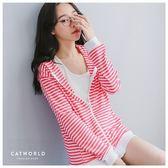 Catworld MIT 條紋口袋連帽棉外套【15003547】‧F*特價
