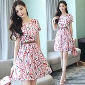 限時38折 韓系時尚氣質收腰名媛配腰帶印花短袖洋裝