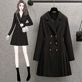 大碼長袖洋裝 禮服 連身裙L-4XL18467胖mm時尚收腰顯瘦長袖連身裙減齡西裝裙4F093 胖妞衣櫥