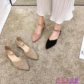 尖頭單鞋女春款新款晚晚風淑女不累腳中跟粗跟少女高跟涼鞋夏超級品牌【公主日記】