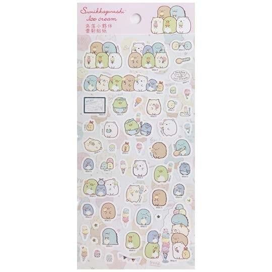 小禮堂 角落生物 造型鐳射貼紙 卡片貼紙 手帳貼紙 貼紙組 (粉 冰淇淋) 4714551-88717