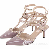 VALENTINO ROCKSTUD 鉚釘三繫帶漆皮高跟鞋(莫蘭迪灰紫) 1610236-47