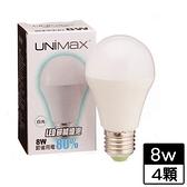 4件超值組UNIMAX LED燈泡-白光(8W)【愛買】
