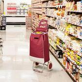 購物車 便攜購物車折疊行李手拉車買菜車拖車拉桿小推車可拆洗酒紅T