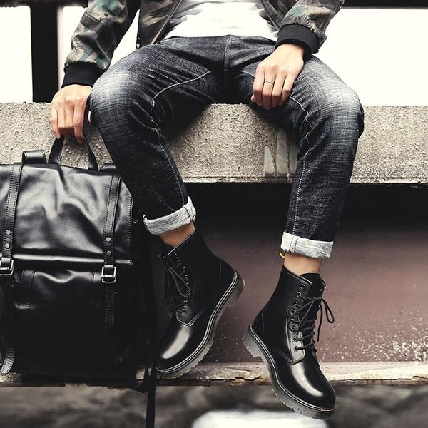馬丁靴 馬丁靴男高幫英倫風韓版工裝靴百搭潮鞋夏季透氣中幫男靴秋季男鞋 維多原創
