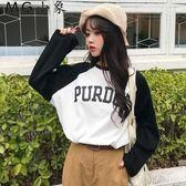 韓版拼色學生百搭長袖T恤