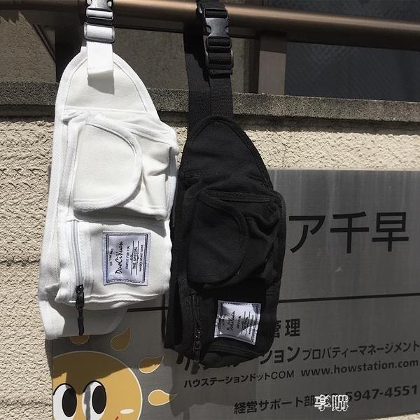 韓國ins原宿風日系街頭復古工裝斜跨包帆布包胸包腰包學生男女潮