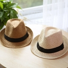 親子款 黑帶紳士帽草帽 兒童 大人 帽子 麻帽 草帽 遮陽帽 橘魔法 現貨 兒童 童裝 親子裝