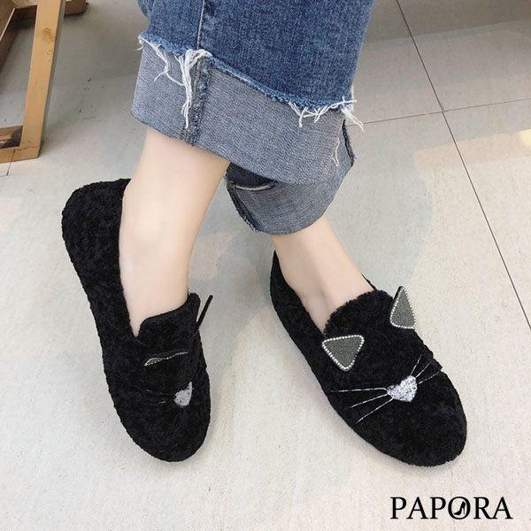 卡哇依貓貓平底娃娃鞋KTB38黑/卡其(偏小)PAPORA