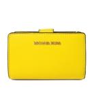 艾莉莎國際【全新現貨】MICHAEL KORS 金字Logo防刮皮革中夾(亮黃色)-35T0GTVF8L