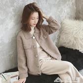 短款羊羔毛外套女冬季韓版百搭寬鬆學生加厚毛絨皮毛一體夾克上衣 三角衣櫃