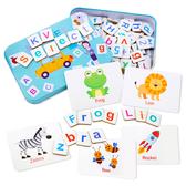 鐵盒磁性英文拼字遊戲 玩具 早教玩具
