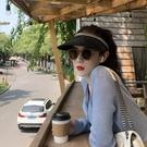 網紅草帽女拉菲草空頂遮陽帽夏季海邊度假出游防曬帽子女防紫外線  一米陽光
