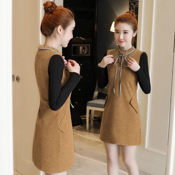 VK精品服飾 韓國風冬季新款襯衫領絲帶拼接修身加厚毛呢長袖洋裝