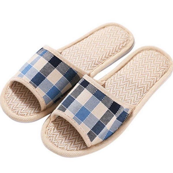 【GM176】亞麻拖鞋42/43號 英倫格子家居家木地板室內拖鞋 保暖拖鞋★EZGO商城★