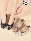 媽媽單鞋粗跟百搭淺口中年女皮鞋防滑舒適軟底圓頭