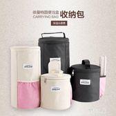 野餐袋 圓形便當袋手提拉鏈飯盒袋保溫桶袋帶飯包 qz3608【野之旅】