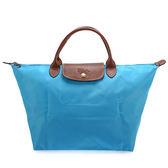 LONGCHAMP 短提把中型尼龍摺疊水餃包(蔚藍色)480101-807