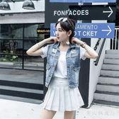 中大尺碼淺藍色牛仔馬甲 新款韓版修身休閒短款女裝背心破洞外套上衣 DR28491【男人與流行】