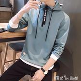 春秋季男士長袖t恤青年學生韓版修身連帽衛衣潮流帥氣套頭打底衫  潔思米