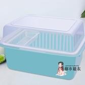 碗筷收納架 碗筷收納盒廚房收納架家用放餐具置物架瀝水裝碗櫃抽屜收納箱帶蓋 2色T【快速出貨】