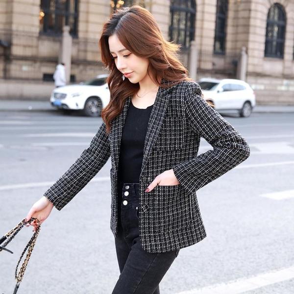 外套 长袖 百搭外套西裝外套短粗花呢格子小個子韓版英倫風西服上身女NE68-A1 胖妞衣櫥