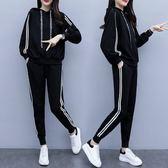 大尺碼套裝兩件套二件式秋裝新款大碼女裝寬大顯瘦連帽衛衣套裝4F088.2907韓衣紡