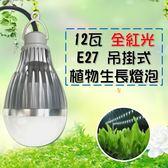 植物生長燈 推薦 吊掛植物 燈 12W / 12瓦  E27 LED植物燈 100v-240v-全紅光 JNP016