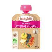 BABYBIO 有機蘋果藍莓草莓纖果泥90g-法國原裝進口6個月以上嬰幼兒專屬副食品