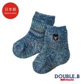DOUBLE_B 日本製 黑熊針織男童襪(藏藍)