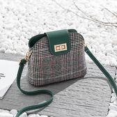女包斜背春季新款格紋單肩包韓版休閒貝殼包潮流小包包「爆米花」