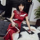 日常改良旗袍復古紅2018新款旗袍春長款連身裙中國風時尚修身顯瘦
