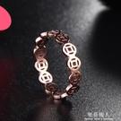日韓版鏤空銅錢幣戒指女款鈦鋼鍍18K玫瑰...
