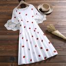 草莓刺繡短袖棉質連身裙(白色M~2XL) *ORead*