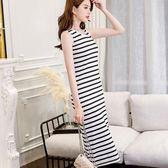 春修身女裝黑白條紋顯瘦大碼打底時尚連身裙   小時光生活館