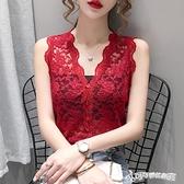 無袖襯衫 蕾絲開衫上衣女2020夏季新款性感鉤花鏤空顯瘦V領無袖背心襯衫潮