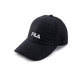 FILA 男女款 滿版LOGO 棒球帽 黑色 HTV-5103-BK 【KAORACER】